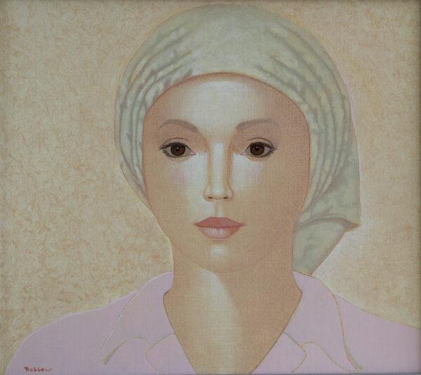 Lady with green scarf 71x80 cm LR IMG_1586