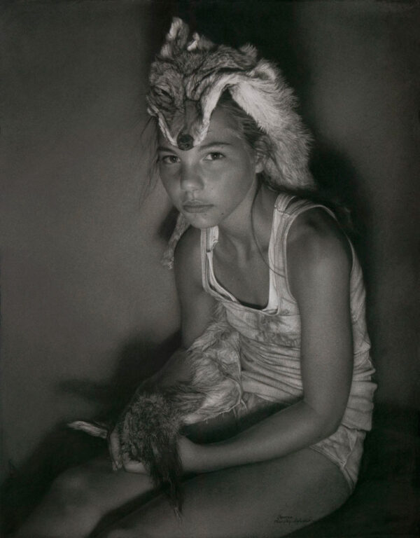 Annie Murphy-Robinson, Casey and the Coyote Animus, 2014, Charcoal on paper, 105x82 cm (41x32 inch)